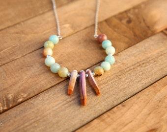Amazonite & Sea Urchin Quill Chain Necklace