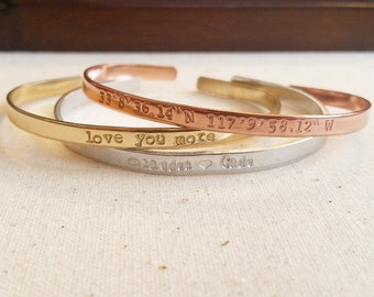 Skinny Cuffs - Hand Stamped, Personalized Bracelet, Bridesmaid Gifts