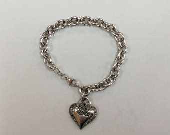 Beautiful Vintage 925 Sterling Silver Charming Bracelet with Marcasite  Heart Charm!!!