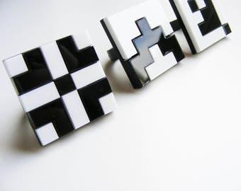 "Black and White Grid Ring ""Norwegian Plastic"" laser cut"