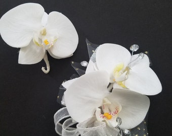 Phalaenopsis Orchid Corsage and Boutonniere Set / Wedding Shower