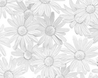 Benartex Fabrics White Out White Daisy Silver/White -08481-11