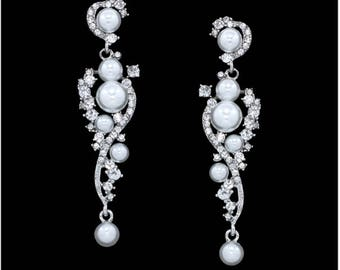"PAIR Bridal Wedding Vine Pearl Rhinestone Crystal Earrings Dangle Gauges Plugs Tunnels 4g 2g 0g 00g 7/16"" 1/2"" 5mm 6mm 8mm 9mm 11mm 12mm"