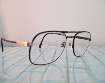 """Luxottica Black Gold Metal Aviators Frames Italy with """"Snap to"""" arms"""