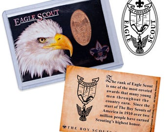 Boy Scouts of America - Eagle Scout - Elongated Coin Trading Card - Smashed Penny - 3 Varieties - Scouting - Court of Honor - Unique Gift