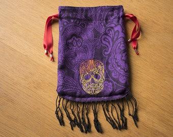 Sugar Skull  Drawstring Dice Bag, Smokers Bag, Knitting Bag, Jewellry Bag, E-reader Bag. 19 by 26 cm (7,5 by 10 inch)