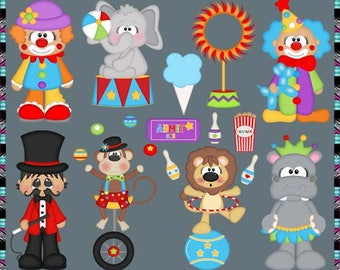 The Greatest Circus Show, Big Top, Animals, Clown - Instant Download - Semi Exclusive Commercial Use Digital Clipart Elements Graphics Set