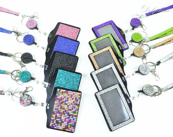 Multi-Colors Rhinestone set LANYARD, Retractable Reel and Both Side Rhinestone Horizontal ID Badge Holder