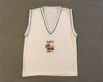 1990's, sleeveless, RugRats top, in white, with teal trim, Women's size Small