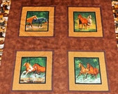 Patchwork western cowboy Horse blanket / lap  blanket/comforter/ twin quilt  Ready to Ship