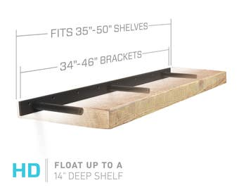 "Floating Shelf Bracket for 35"" to 50"" Long Floating Shelf - HEAVY DUTY - Hardware Only (Patent Pending)"