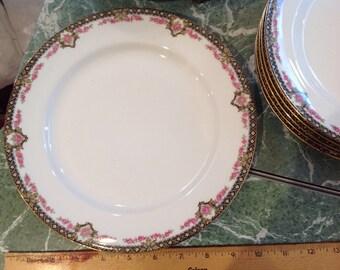 Limoges Dinner Plate Roses Gold Rim Vintage Gorgeous France