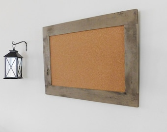 Framed CORK MESSAGE BOARD - 24 x 36 - Rustic Distressed Wood - Shown in Shingle Tan - 24 x 36 - Choose Color