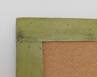Olive GREEN BULLETIN BOARD - Framed Cork Board - Playroom Wall Decor - Rustic Distressed Wood - 24 x 36 - More Colors Available