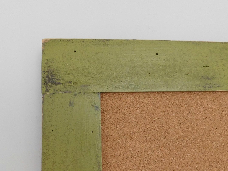 olive green bulletin board framed cork board playroom wall