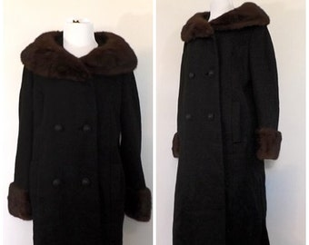 Vintage 1940s 1950s Black Wool Coat Fur Coat Mink Collar Swing Coat Outerwear 50s Winter Coat Hollywood Glamour Mad Men Medium Large Peacoat