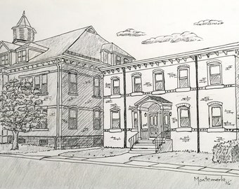 Pen & Ink Drawing of your home, business, .    Aprx. 11 x 14, personalized, original,  anywhere in the world, Windsor Locks, CT, Suffield