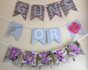 Guns Or Roses gender reveal baby banner