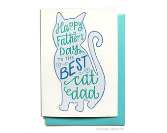 Happy Father's Day Card From the Cat - Pet Dad - Best Cat Dad - FD21