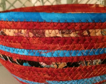 Southwest Colors Hand Wrapped Fabric Coiled Basket
