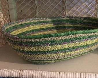 Hand Wrapped Fabric Coiled Basket