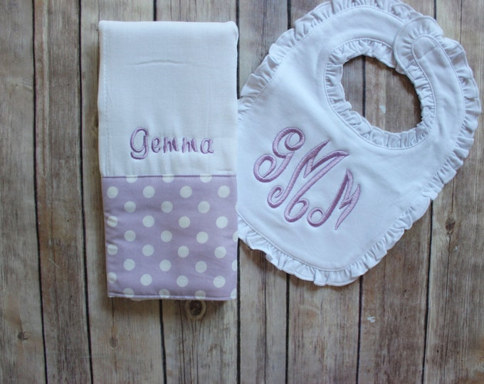 Monogrammed Baby Girl Burp Cloth Bib, Monogrammed Baby Girl Gift, Monogrammed Baby Gift, Purple Baby Gift, Baby Girl Shower Gift, New Baby