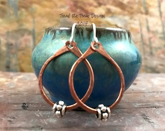 Copper Hoop Earrings Handmade