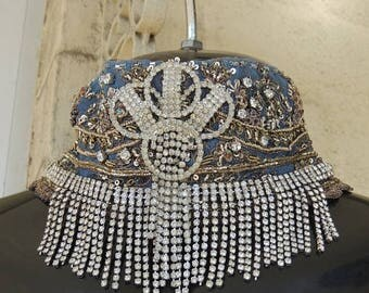 REDUCED   Stunning OOAK Vintage Rhinestone Beaded Burlesque 1920s Flapper Collar Choker Necklace..
