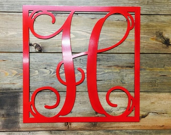 Minden- Single Vine Initial in Square Frame