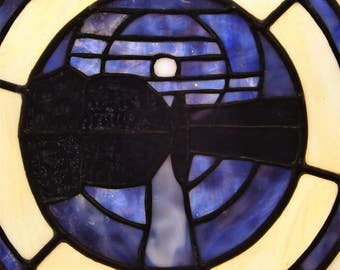 Stained Glass Panel  Solar Eclipse Moon Landscape Eclectic Blue Purple Yellow White  Window Art Sun Catcher Free Domestic Shipping
