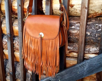 Leather Purse, Leather Bag, Cross Body Bag, Fringe Leather Purse