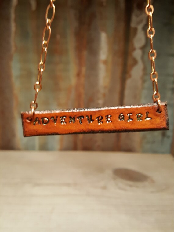 Stamped Leather Necklace, Leather Necklace, Copper.Necklace