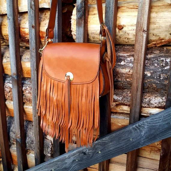 Leather Purse, Leather Bag, Cross Body Bag, Fringe Leather Purse