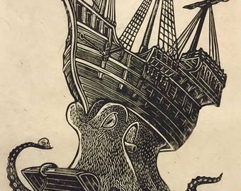Davy Jones's Locker Block Print