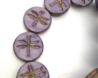 Czech Dragonfly Bead 17mm Coin Purple  Silk with  Picasso Finish QTY 4