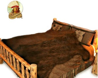 Plush Shag Faux Fur Bedspread - Big Brown Bear Design - 6 Colors - Designer Throws by Fur Accents USA