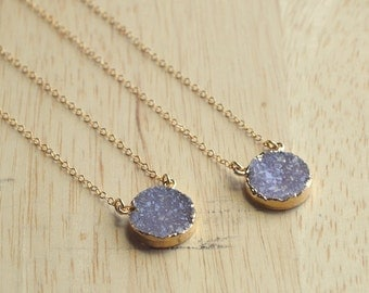 Sparkling Purple Druzy Necklace- Small Purple Druzy- Gold Druzy Necklace- Genuine Druzy