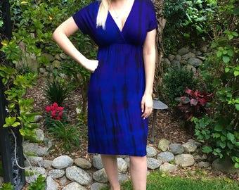 Summer Dress, Tie Dye Dress, Kimono Style Dress, Tie Dye Dress, Dresses, Knee Length Dress, Royal Purple with Black, S M L XL 2X