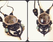 Macrame necklace with stromatolite, root and heart chakra