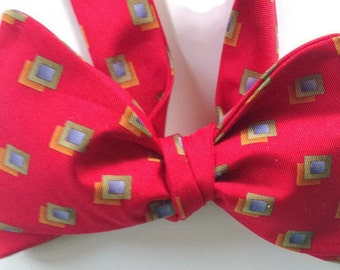 Silk Bow Tie for Men - Harold Square  - One of-a-Kind, Handtailored, Self-tie - Free Shipping