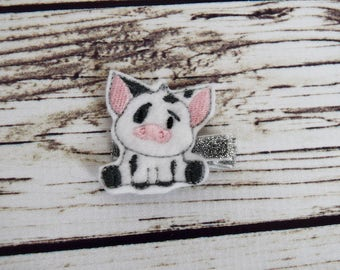 Handcrafted Pig Feltie Clip - Pig Accessory - Piglet Birthday Favor - Sidekick Bows - Small Hair Clips - Baby Girl Bows - Toddler Hair Bows
