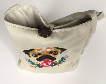 Cream Embroidered Pug Over The Shoulder Bag - Lined and with internal pocket - Made in Great Britain