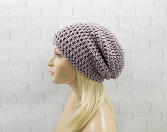 Lavender Grey Slouchy Beanie, Womens Crochet Hat, Purple Beanie Hat, Winter Hat, Oversized Hat, Slouch Hat, Crochet Beanie, Crochet Hat