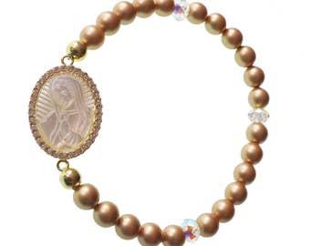 Swarovski Pearl Bracelet/Virgin Mary Medal/Mother Pearl Charm/ Elastic Bracelet/ Catholic