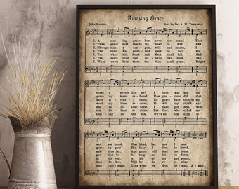 Amazing Grace Print, Printable Vintage Sheet Music, Instant Download, Antique Hymn, Inspirational Quote, Scrapbook Collage, Christian Art