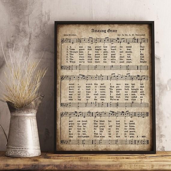 Amazing Grace Sheet Music With Lyrics: Amazing Grace Print Printable Vintage Sheet Music Instant