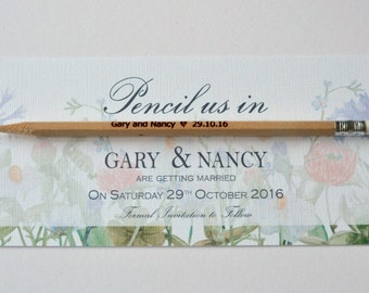Spring flowers pencil us in save the date