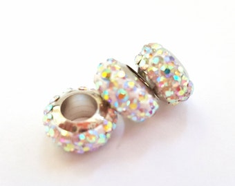 30% Off Sale!!  Clear AB Rhinestone European Beads.  12 X 6mm Rondelles.  Really Pretty and Shimmery!!  Each Sold Separately.  Great Prices!
