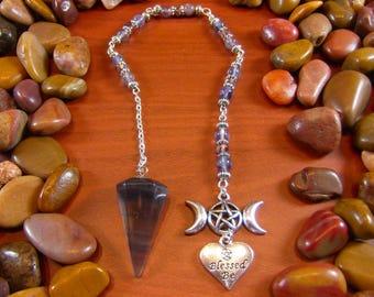Fluorite Wiccan Pendulum - Fluorite Pendulum, Triple Moon Pendulum, Triple Moon Goddess, Blessed Be, Wicca, Witchcraft, Occult, Paranormal
