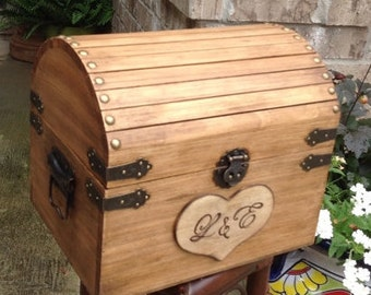 Rustic Wedding Trunk, Wedding Card Box, Treasure Chest, Wedding Decor, Pirates Chest, Toy Box, Hope Chest, Keepsake Box, Guest Book